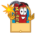 Clip Art Graphic of a Stick of Red Dynamite Cartoon Character Label