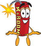 Clip Art Graphic of a Stick of Red Dynamite Cartoon Character Sitting