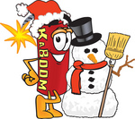 Clip Art Graphic of a Stick of Red Dynamite Cartoon Character With a Snowman on Christmas