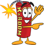 Clip Art Graphic of a Stick of Red Dynamite Cartoon Character Waving and Pointing