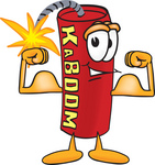 Clip Art Graphic of a Stick of Red Dynamite Cartoon Character Flexing His Arm Muscles