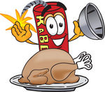 Clip Art Graphic of a Stick of Red Dynamite Cartoon Character Serving a Thanksgiving Turkey on a Platter