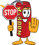 Clip Art Graphic of a Stick of Red Dynamite Cartoon Character Holding a Stop Sign