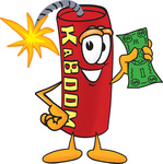 Clip Art Graphic of a Stick of Red Dynamite Cartoon Character Holding a Dollar Bill