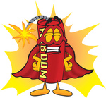 Clip Art Graphic of a Stick of Red Dynamite Cartoon Character Dressed as a Super Hero