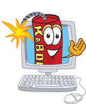 Clip Art Graphic of a Stick of Red Dynamite Cartoon Character Waving From Inside a Computer Screen