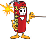 Clip Art Graphic of a Stick of Red Dynamite Cartoon Character Holding a Pointer Stick