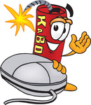 Clip Art Graphic of a Stick of Red Dynamite Cartoon Character With a Computer Mouse