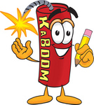 Clip Art Graphic of a Stick of Red Dynamite Cartoon Character Holding a Pencil