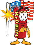 Clip Art Graphic of a Stick of Red Dynamite Cartoon Character Pledging Allegiance to an American Flag