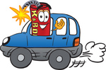 Clip Art Graphic of a Stick of Red Dynamite Cartoon Character Driving a Blue Car and Waving