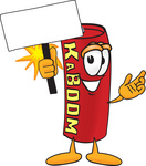 Clip Art Graphic of a Stick of Red Dynamite Cartoon Character Holding a Blank Sign