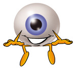 Clip Art Graphic of a Blue Eyeball Cartoon Character Sitting