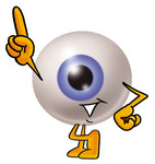 Clip Art Graphic of a Blue Eyeball Cartoon Character Pointing Upwards