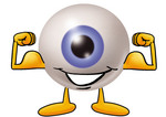 Clip Art Graphic of a Blue Eyeball Cartoon Character Flexing His Arm Muscles