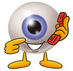 Clip Art Graphic of a Blue Eyeball Cartoon Character Holding a Telephone