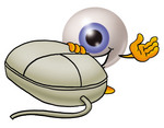 Clip Art Graphic of a Blue Eyeball Cartoon Character With a Computer Mouse