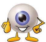 Clip Art Graphic of a Blue Eyeball Cartoon Character Pointing at the Viewer