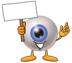 Clip Art Graphic of a Blue Eyeball Cartoon Character Holding a Blank Sign