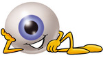 Clip Art Graphic of a Blue Eyeball Cartoon Character Resting His Head on His Hand