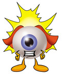 Clip Art Graphic of a Blue Eyeball Cartoon Character Dressed as a Super Hero