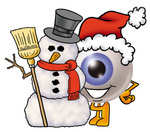 Clip Art Graphic of a Blue Eyeball Cartoon Character With a Snowman on Christmas