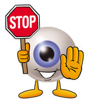 Clip Art Graphic of a Blue Eyeball Cartoon Character Holding a Stop Sign