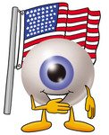 Clip Art Graphic of a Blue Eyeball Cartoon Character Pledging Allegiance to an American Flag