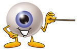 Clip Art Graphic of a Blue Eyeball Cartoon Character Holding a Pointer Stick