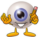 Clip Art Graphic of a Blue Eyeball Cartoon Character Holding a Pencil