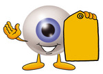 Clip Art Graphic of a Blue Eyeball Cartoon Character Holding a Yellow Sales Price Tag