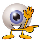 Clip Art Graphic of a Blue Eyeball Cartoon Character Waving and Pointing