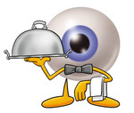 Clip Art Graphic of a Blue Eyeball Cartoon Character Dressed as a Waiter and Holding a Serving Platter