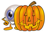 Clip Art Graphic of a Blue Eyeball Cartoon Character With a Carved Halloween Pumpkin
