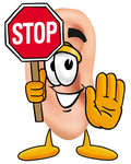 Clip Art Graphic of a Human Ear Cartoon Character Holding a Stop Sign