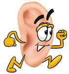 Clip Art Graphic of a Human Ear Cartoon Character Running