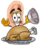 Clip Art Graphic of a Human Ear Cartoon Character Serving a Thanksgiving Turkey on a Platter