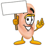 Clip Art Graphic of a Human Ear Cartoon Character Holding a Blank Sign