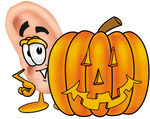 Clip Art Graphic of a Human Ear Cartoon Character With a Carved Halloween Pumpkin