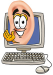 Clip Art Graphic of a Human Ear Cartoon Character Waving From Inside a Computer Screen