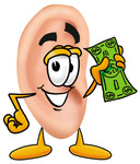 Clip Art Graphic of a Human Ear Cartoon Character Holding a Dollar Bill