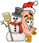 Clip Art Graphic of a Human Ear Cartoon Character With a Snowman on Christmas