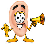 Clip Art Graphic of a Human Ear Cartoon Character Holding a Megaphone