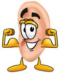 Clip Art Graphic of a Human Ear Cartoon Character Flexing His Arm Muscles