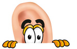 Clip Art Graphic of a Human Ear Cartoon Character Peeking Over a Surface
