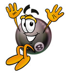 Clip Art Graphic of a Billiards Eight Ball Cartoon Character Jumping