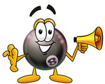 Clip Art Graphic of a Billiards Eight Ball Cartoon Character Holding a Megaphone