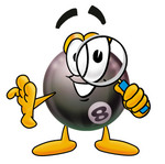 Clip Art Graphic of a Billiards Eight Ball Cartoon Character Looking Through a Magnifying Glass