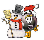 Clip Art Graphic of a Billiards Eight Ball Cartoon Character With a Snowman on Christmas