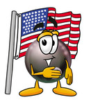 Clip Art Graphic of a Billiards Eight Ball Cartoon Character Pledging Allegiance to an American Flag